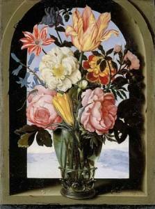 Ambrosius Bosschaert le Vieux - Bouquet de fleurs dans une arcature de pierre s'ouvrant sur un paysage, 1620