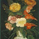 Gogh Van,19,FRA, Vase with Asters, Salvia and Other Flowers