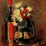 Gogh Van,19,FRA, Vase with Carnations and Roses and a Bottle