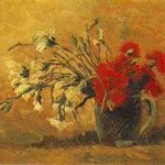 Gogh Van,19,FRA, Vase with Red and White Carnations on Yellow Background