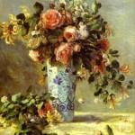 Pierre-Auguste Renoir - Roses and Jasmin in a Delft Vase. (Les roses et jasmin dans le vase de Delft)